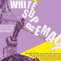 "Colored printed poster with mostly purple and yellow with the title of the image ""falling"" from the top in block style letters. Images are of a sculpture of a man wearing a hat being torn down."